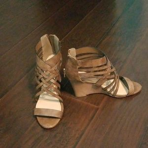 JustFab Strappy Tan Wedge